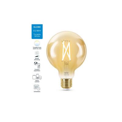 Ampoule e27 globe 95mm-7w filament led cct verre doré variable Bluetooth wizmote wifi wiz Philips