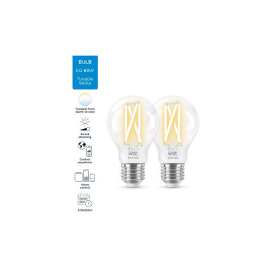 Pack de 2 Ampoules e27-7w filament led cct variable Bluetooth wizmote wifi wiz Philips