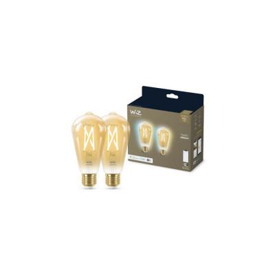 Lot de 2 Ampoules e27-7w filament led cct verre doré variable Bluetooth wizmote wifi wiz Philips