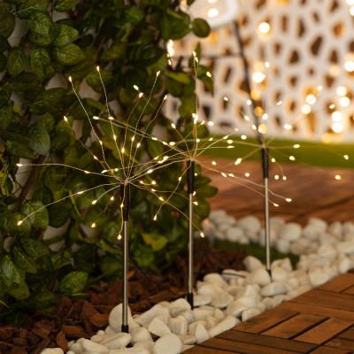Kit 3 piquets solaire lumineuse led décoration blanc chaud 3000k