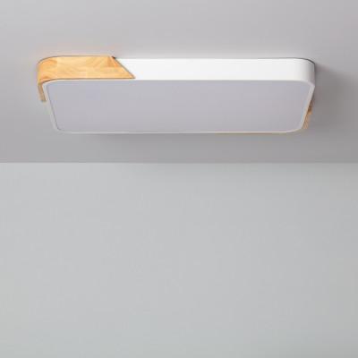 Plafonnier led 30w cct-40cm-3000k-4000k-6000k bois et métal blanc